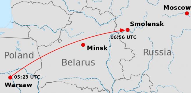 Mapa lotu samolotu prezydenckiego do Smoleńska 10 kwietnia 2010 roku. Autor: Uwe Dedering; Mareklug, licencja: Creative Commons Attribution-Share Alike 1,2,2.5,3
