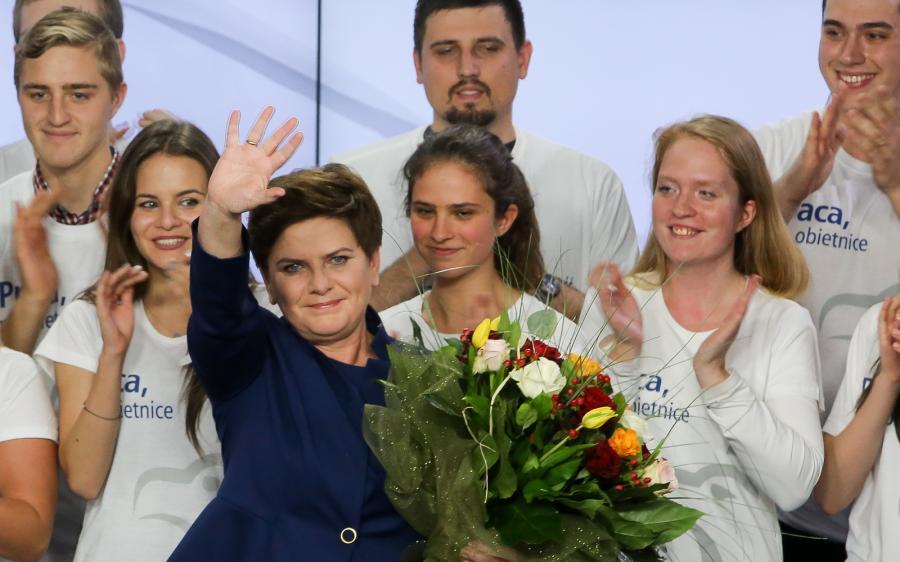 Beata Szydło podczas wieczoru wyborczego Prawa i Sprawiedliwości.