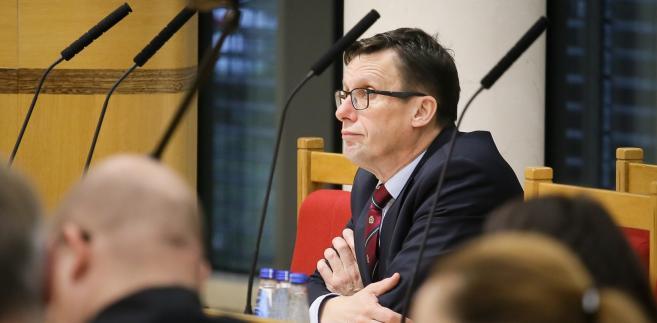 Przedstawiciel Sejmu, poseł PiS Marek Ast podczas rozprawy w Trybunale Konstytucyjnym.