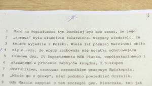 Dokument dot. ks. Popiełuszki. Zbiory udostępnił IPN