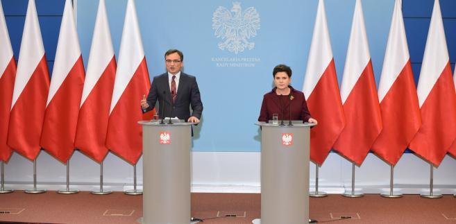 Premier Beata Szydło i minister sprawiedliwości prokurator generalny Zbigniew Ziobro