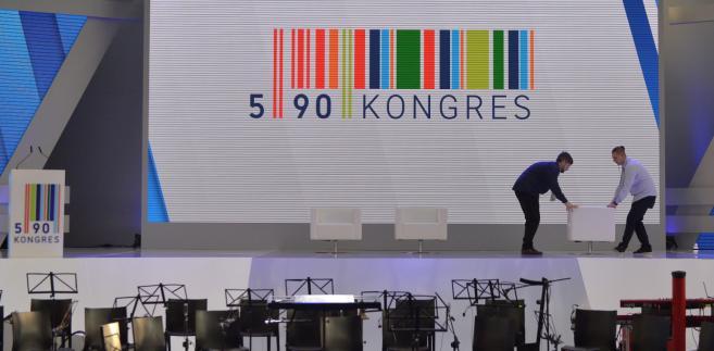 Przygotowania do rozpoczynającego się Kongresu 590 w Centrum Wystawienniczo-Kongresowym w Jasionce k. Rzeszowa.
