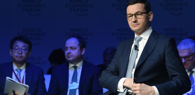 """Premier Mateusz Morawiecki podczas panelu """"Europe between Vision and Dilemma"""" na Światowym Forum Ekonomicznym w Davos"""