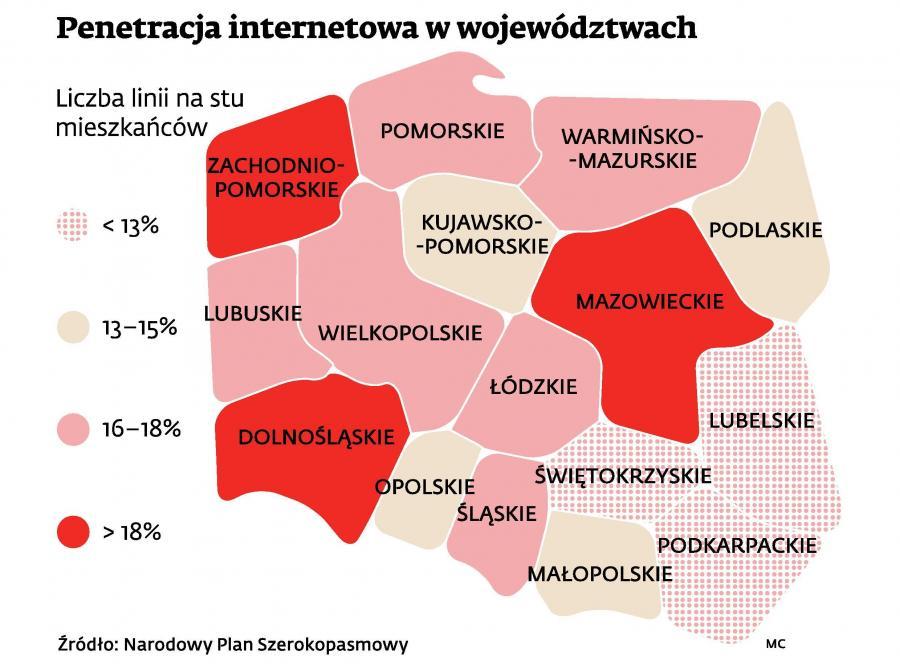 Penetracja internetowa w województwach