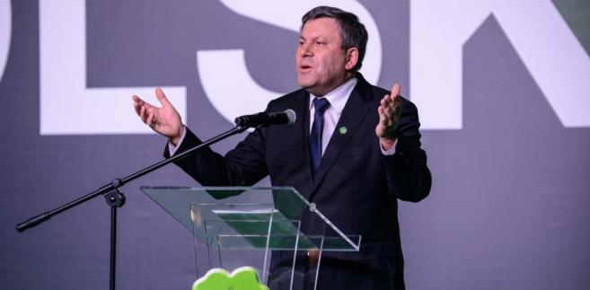 Prezes PSL Janusz Piechociński podczas konwencji