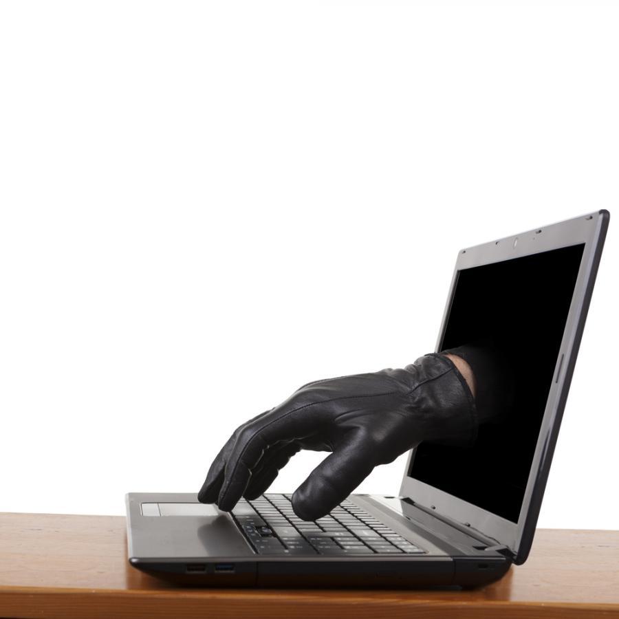 ręka, komputer, oszust, cyberatak