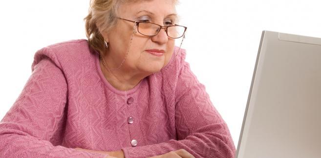 babcia, komputer, senior