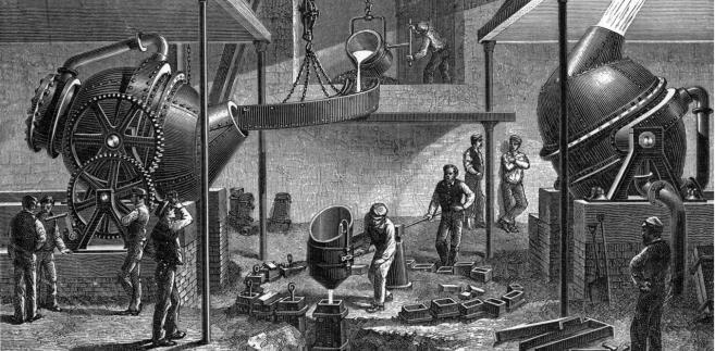 """Wynaleziona w 1865 r. """"gruszka Bessemera"""" pozwoliła szybko i w ogromnych ilościach uzyskiwać wysokogatunkową stal"""