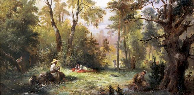 Grzybobranie, ilustracja do III księgi Pana Tadeusza, Franciszek Kostrzewski