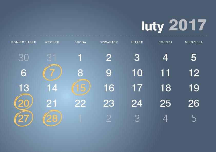 Kalendarz podatnika luty