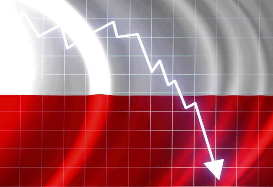 Polska flaga i wykres. Fot. Shutterstock