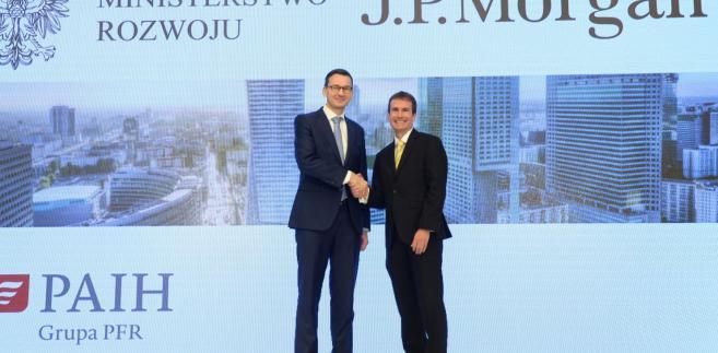 Wicepremier, minister rozwoju i finansów Mateusz Morawiecki i dyrektor zarządzający i szef Centrum Korporacyjnego JP Morgan Steve Cohen