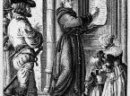 Drzeworyt przedstawiający przybicie przez Marcina Lutra swoich tez do drzwi kościoła w Wittenberdze