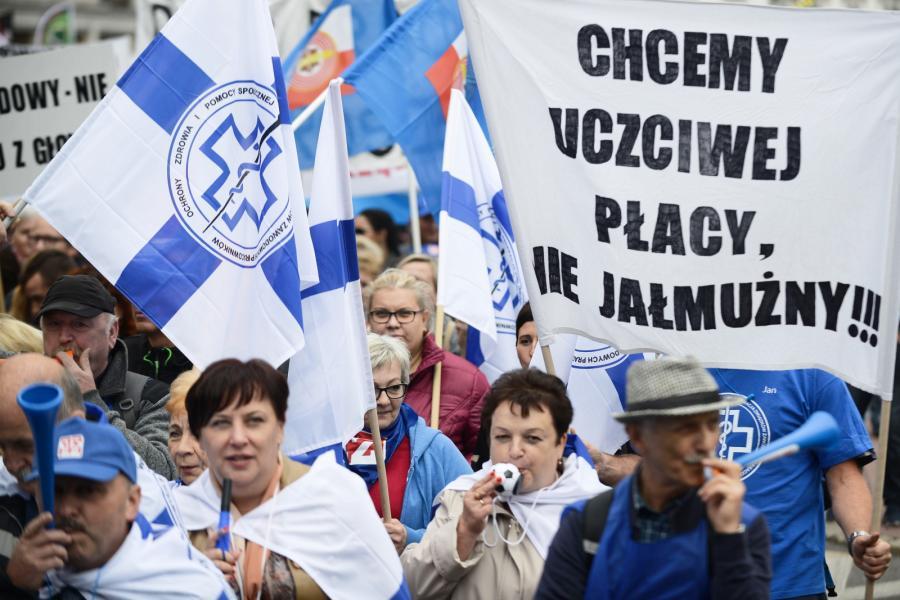 Manifestacja zorganizowana przez OPZZ pod hasłem Polska Potrzebuje Wyższych Płac! odbyła się w Warszawie.
