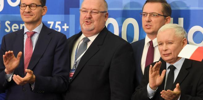 Prezes PiS i premier podczas spotkania udzielili poparcia kandydatowi Zjednoczonej Prawicy na prezydenta Łodzi Waldemarowi Budzie.