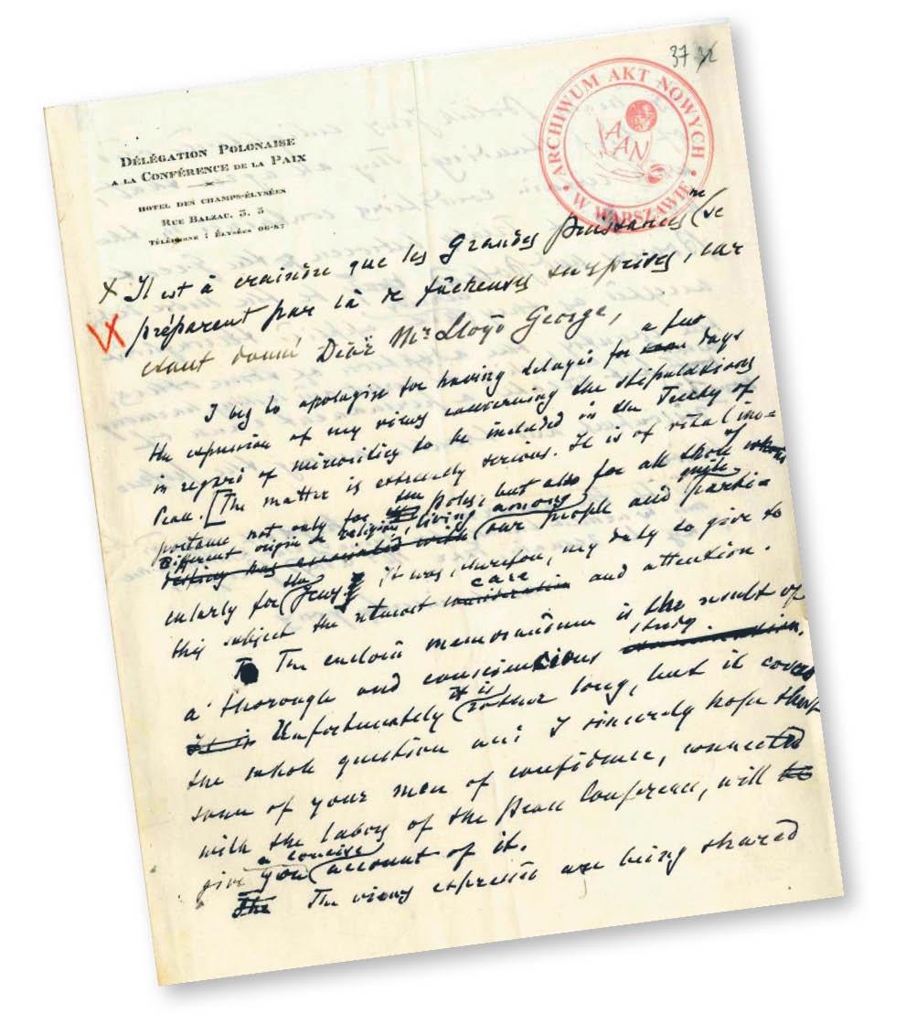 Rękopis listu Ignacego Paderewskiego do szefa brytyjskiego rządu Davida Lloyda George'a z 15 sierpnia 1919 r.